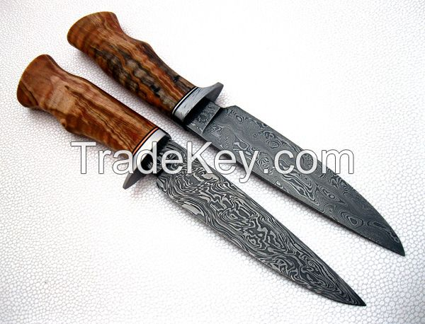 Set of Classic Damascus Hunting Knives