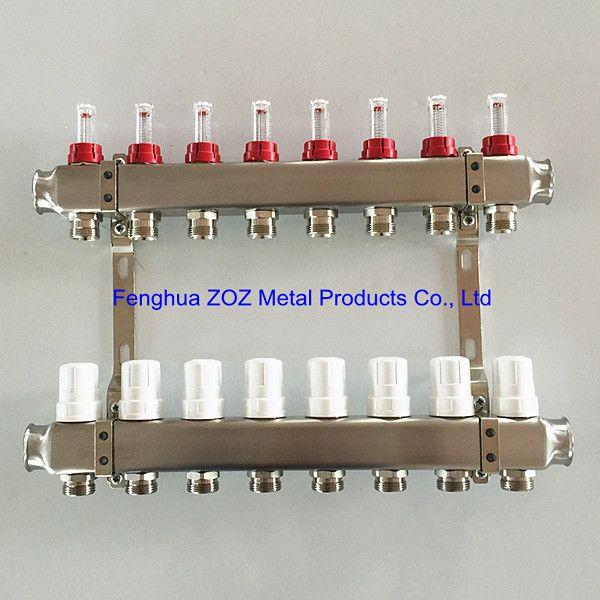 8 Port Stainless Steel Underfloor Heating Manifold Set