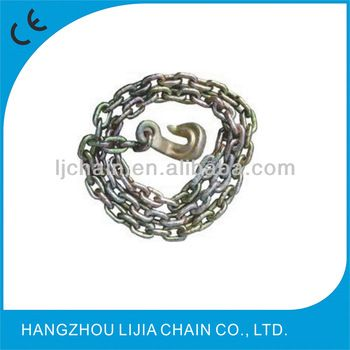 Cargo tie down chain with bent hooks