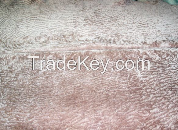 sheepskin material with curly wool for garment or coat