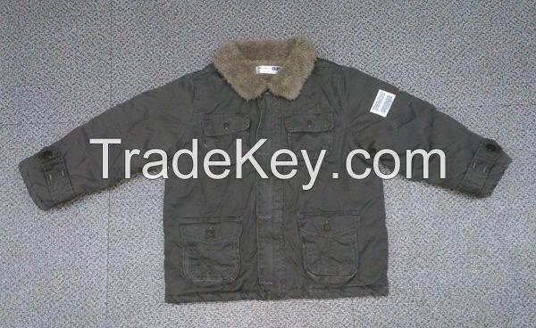 boy foliage long sleeve cotton coat with fur inside