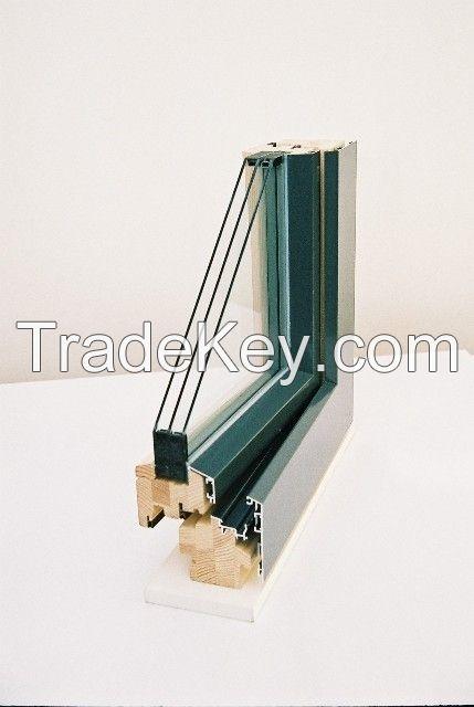 Wooden windows encased in aluminum