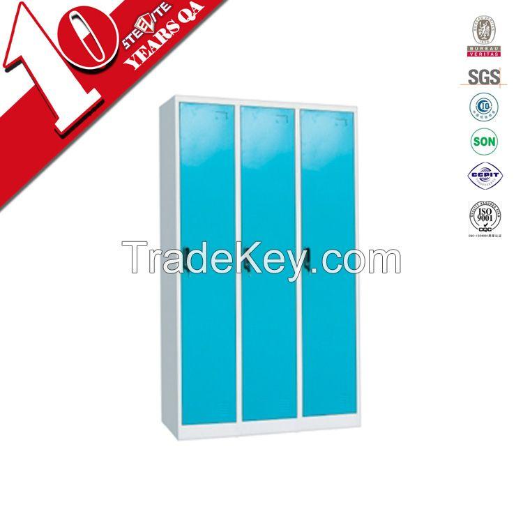 3 Vertical Door Steel Clothes Staff Storage Locker