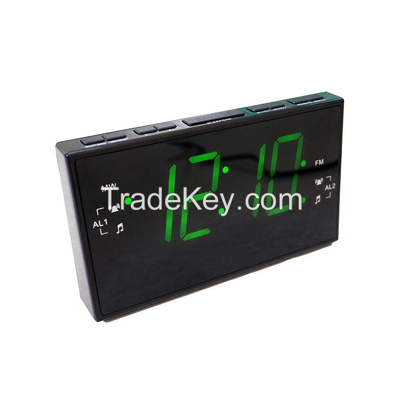 1.8 Inch PLL AM FM Led Alarm Clock Radio Receiver with Dual Alarm Sleep Snooze