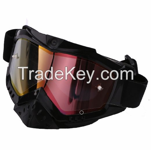 Sport ski helmet camera goggles snow glasses with smart 1080p video double anti-fog UV protection lens