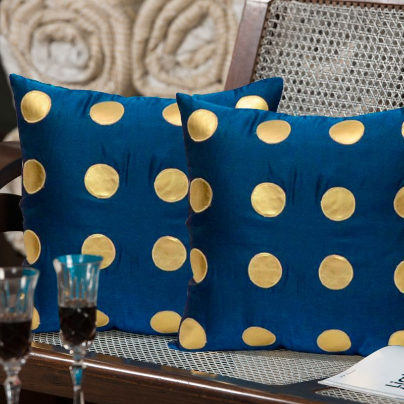 ExclusiveLane Polka Dots Silk Cushion Cover - Set of 2