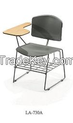 plastic  chair  with  writing  tablet  and  basket