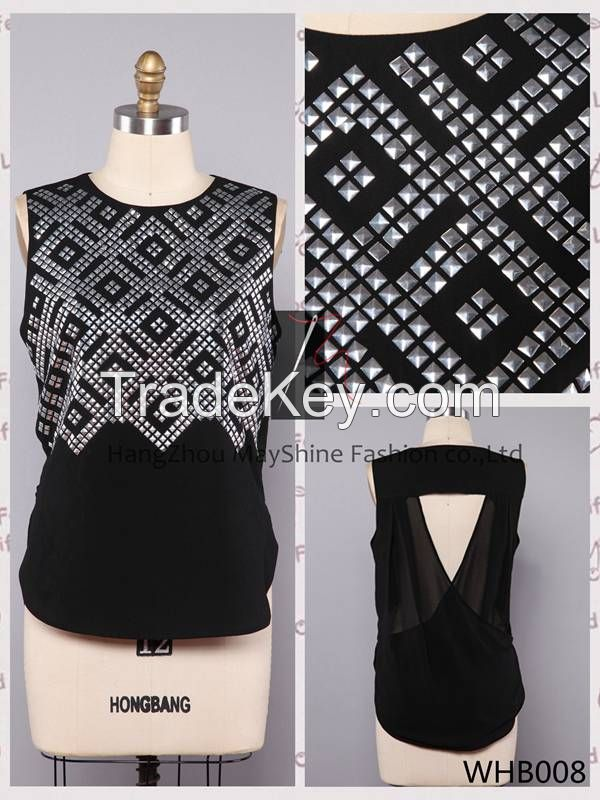 2014 hot selling Ladies polyester tank top with sequins