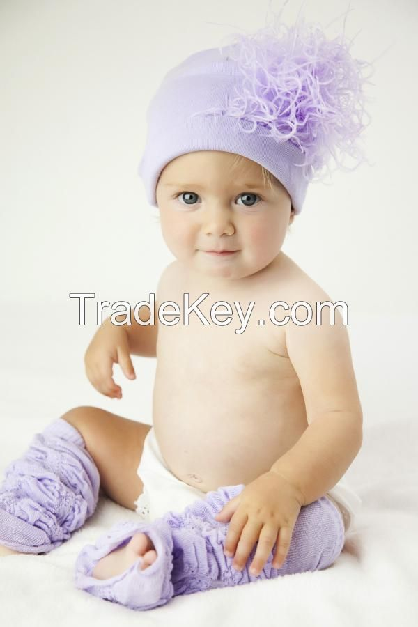 Lavender Cotton Hats with Lavender Large Curly Marabou