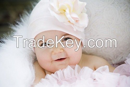White Cotton Hats with Pale Pink Large Rose