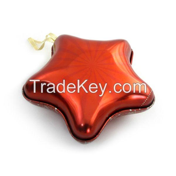 star shape tin box for X'-mas