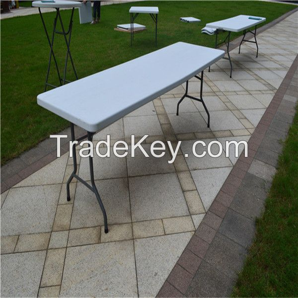 Outdoor camping/picnic/banquet/wedding/dining table, 8ft plastic folding in half table
