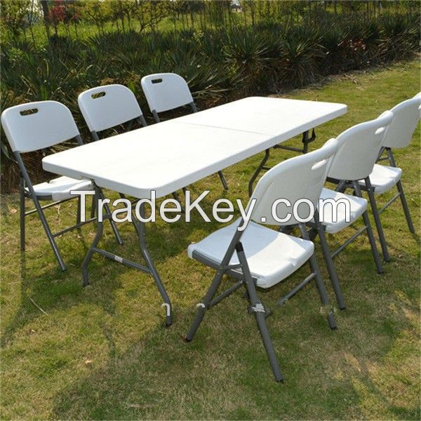 Outdoor picnic fold in half table/6ft folding table