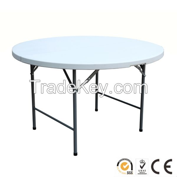Modern plastic round folding banquet/dining table for outdoor/indoor use