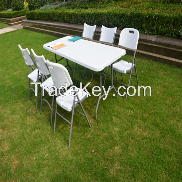 Outdoor camping/picnic/banquet/wedding/dining table, 5ft plastic folding in half table