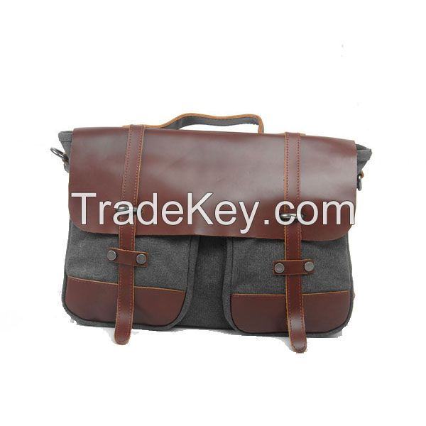fashion young men's canvas and genuine leather laptop bags/briefcase