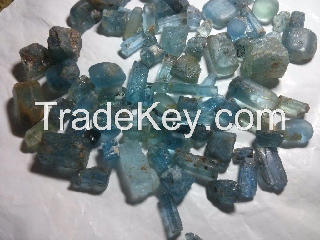 tourmaline, tantalite, aquamarine, blue sapphire
