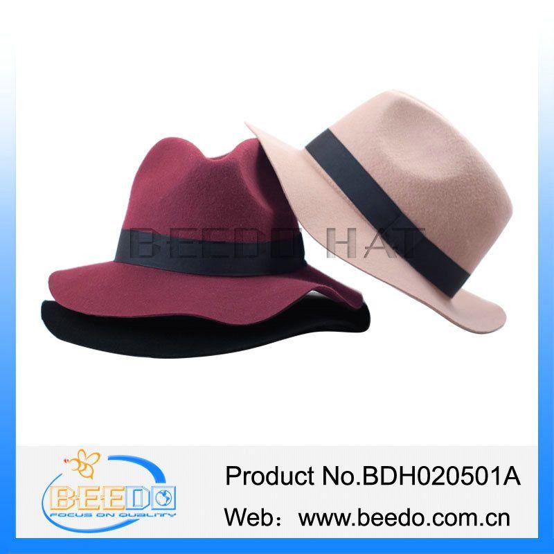 High quality wool felt wide brim floppy fedora trilby hat panama hat
