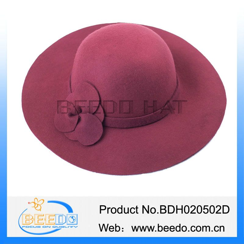 Top quality women wool felt wide brim cloche floppy hat with flower in stock