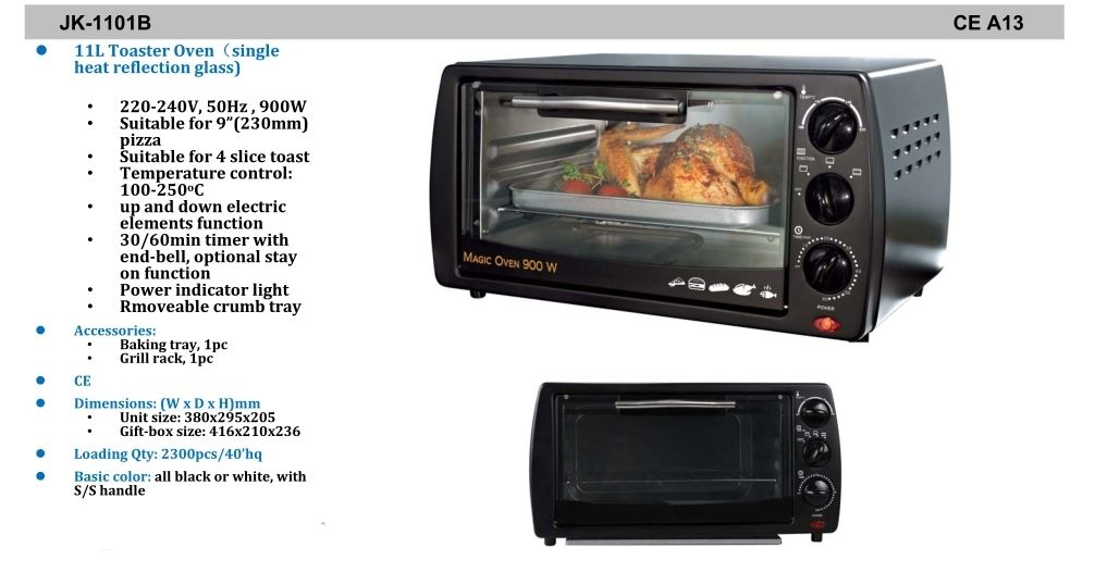 11 litre, 20 litre and 25 litre toaster oven of Chinese origin
