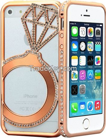 Shengo Luxury CZ Diamond Metal Bumper Case for Smart phones