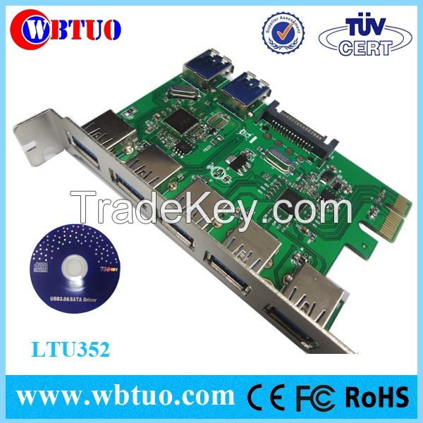 WBTUO PCIE x1 7port USB3.0 with power Sata adapter card