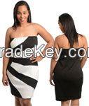 Color blocked strapless woman plus size dress white