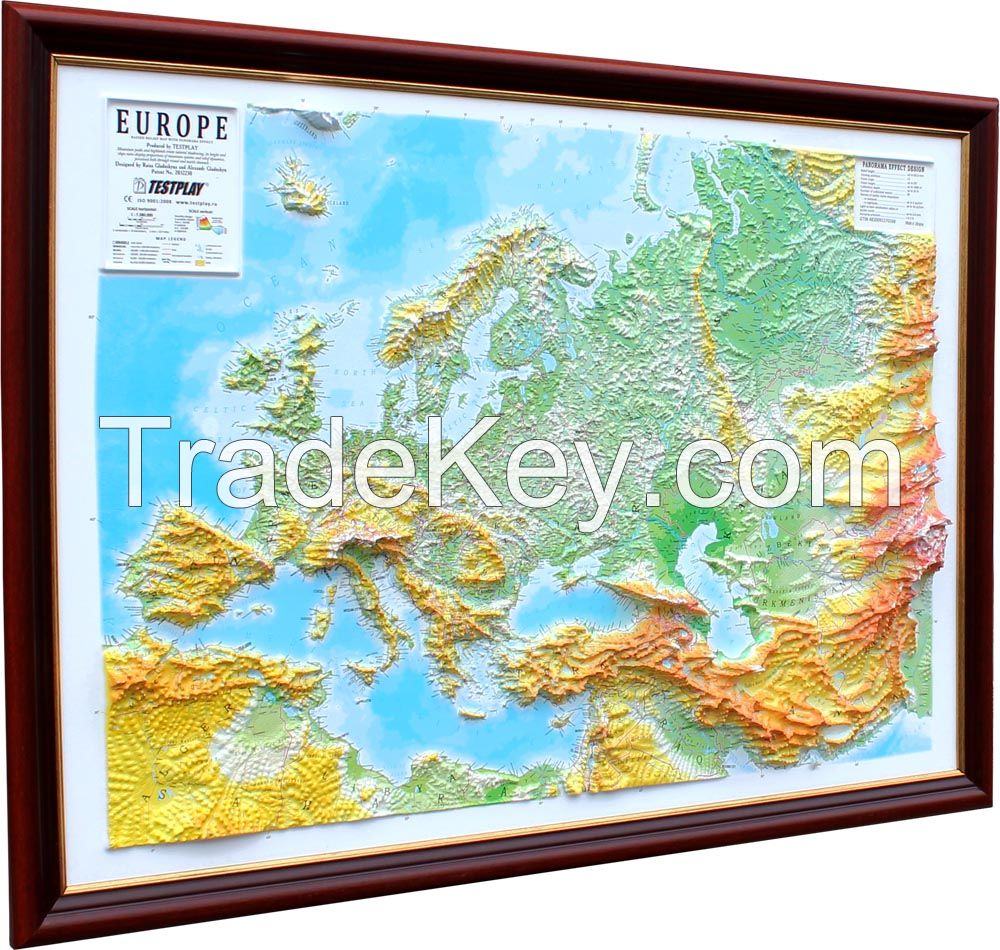 Decorative 3D map with panorama effect Europe