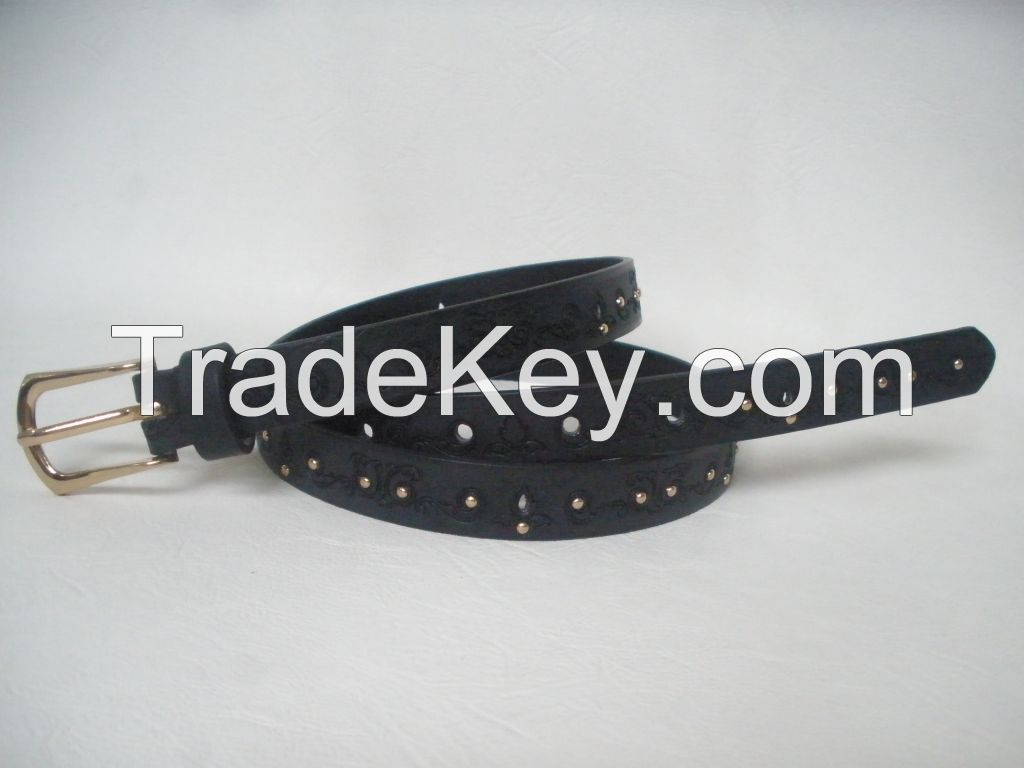Embossed PU Belt with Rivets