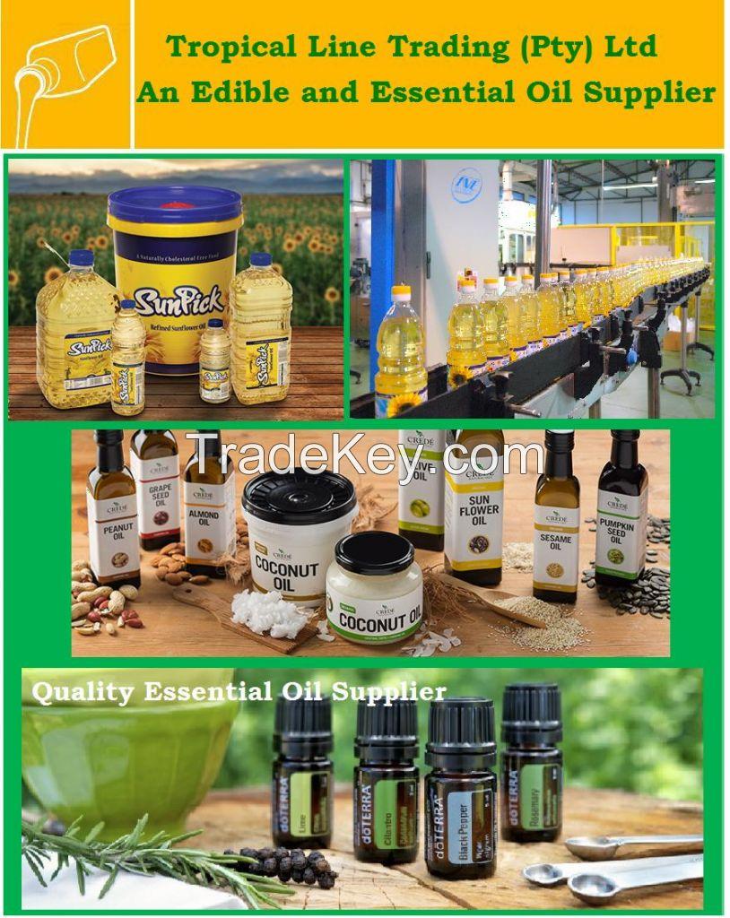 Edible Oils, Essential Oils, Sunflower Oil, Lavender Oil, Frankincense Oil, Coconut Oil, Olive Oil, Palm Oil, Truffle Oil, Sesame Oil, Almond Oil, Lemon Oil
