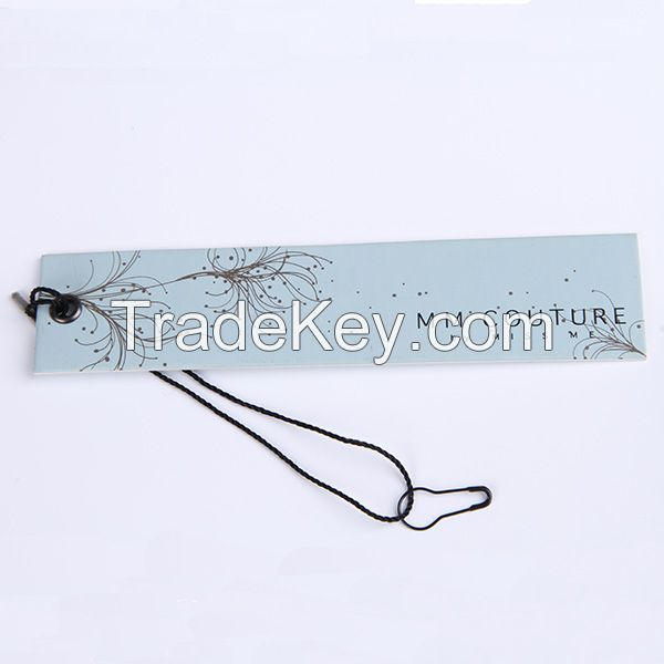 Custom paper printed hang tag for clothing swing tag with string,eyelet,safety pin