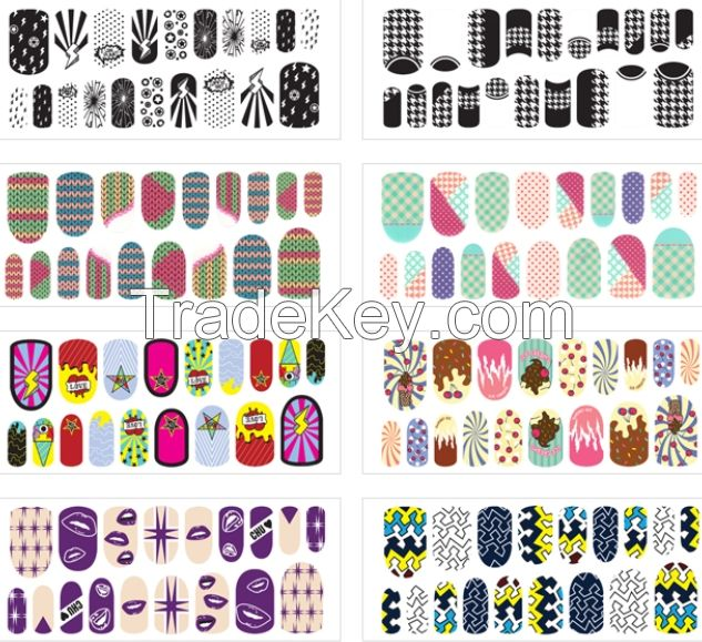 Nail Arts Sticker - Nail Wrap Stickers, Water Decal, deco parts, Full patch, 2D, 3D, Glitter, Buffer, Glue