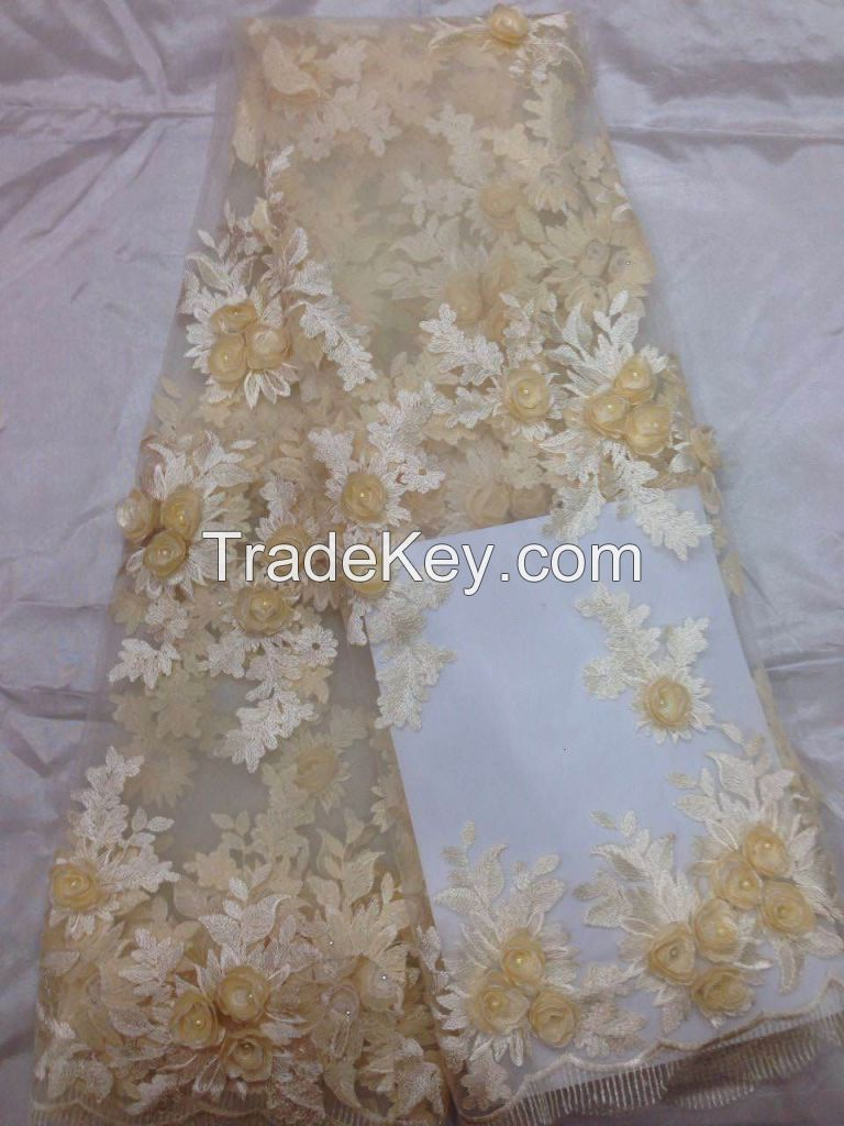 2017 New Arrival 3D design Embroidery Flower Bridal Lace Fabric Wholes