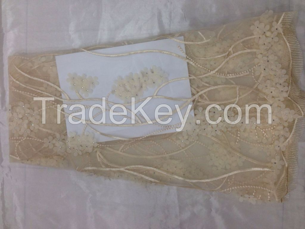 French net lace. Beads lace. Nigeria lace fabric.