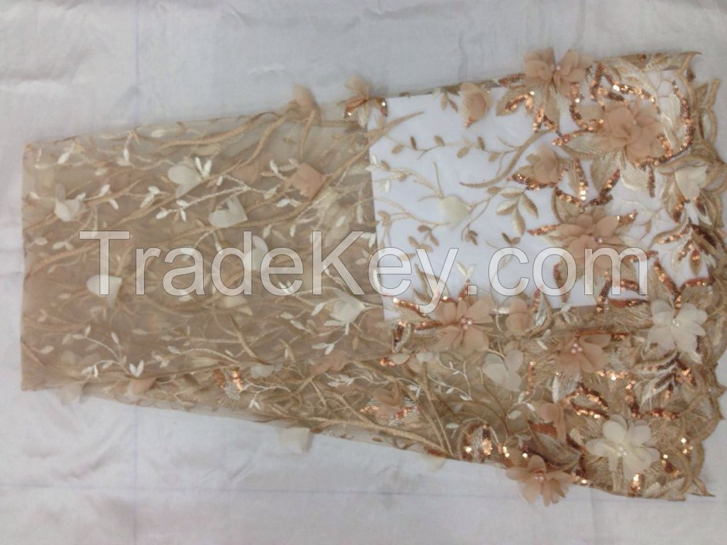 2016 New Arrival 3D design Embroidery Flower Bridal Lace Fabric Wholes
