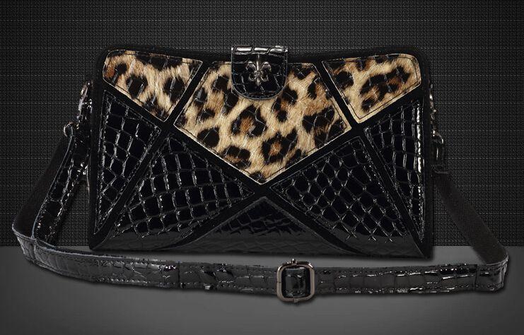 Women Leopard Leather Patchwork Clutch Evening Bag