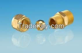 compression male connector/ brass threaded machined/ quick connector