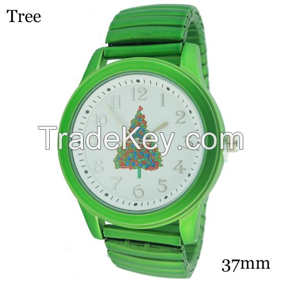 Hot Promotional Gifts Rubberized Coatedm Christmas Stretch Band Watch 37mm