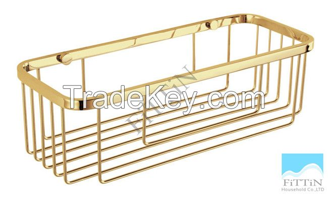 Bathroom Wall mounted Golden Stainless Steel Storage Shower Caddy Basket Shelves
