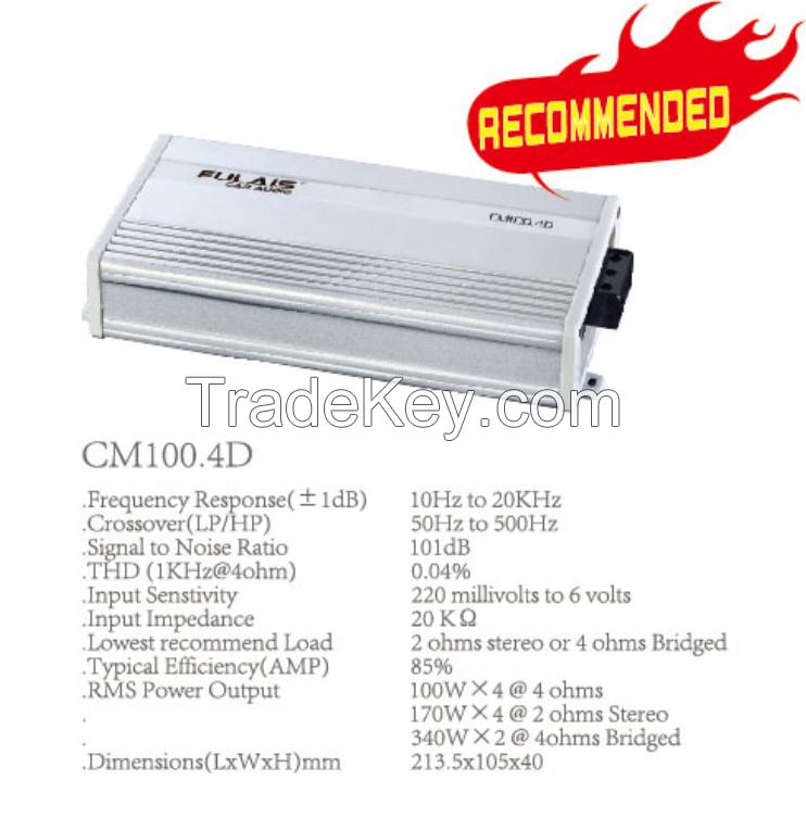 CM100.4D Class D 100W 4 Channel Mini Car Amplifier