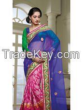 Pink Blue Ceremonial Saree Net Chanderi Embroidery Indian Sari