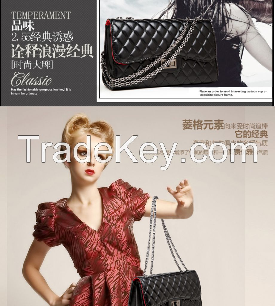 2014 new chain bag Quilted leather shoulder bag diagonal chain in Euro