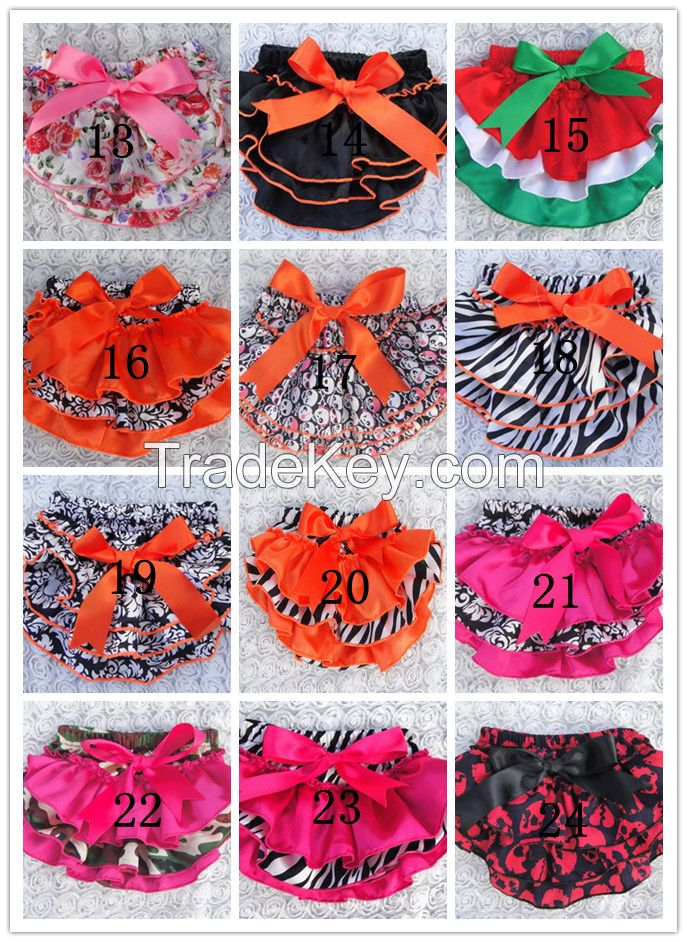 baby satin ruffles bloomers shorts with ribbon bow kids skirt diaper covers