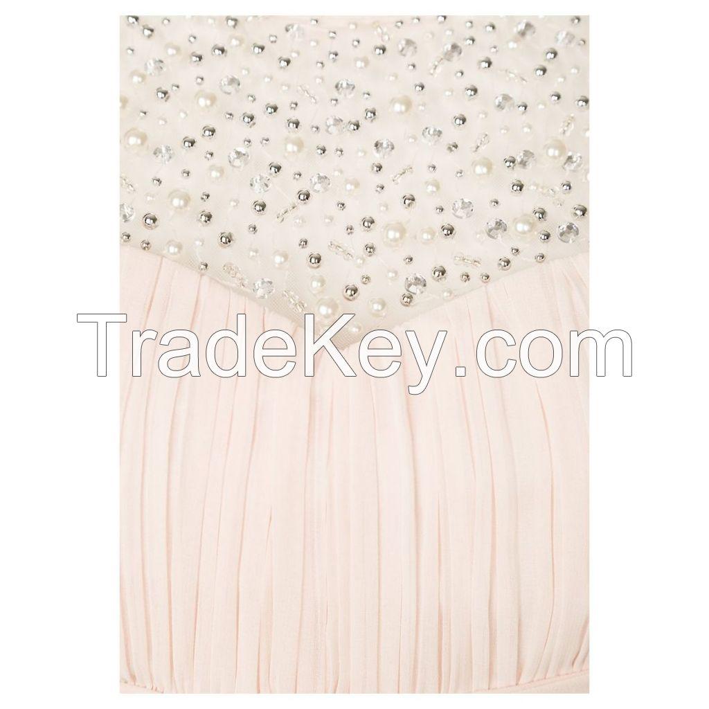 Elegant Evening dress Rhinestones at the neckline, made from 100%polye