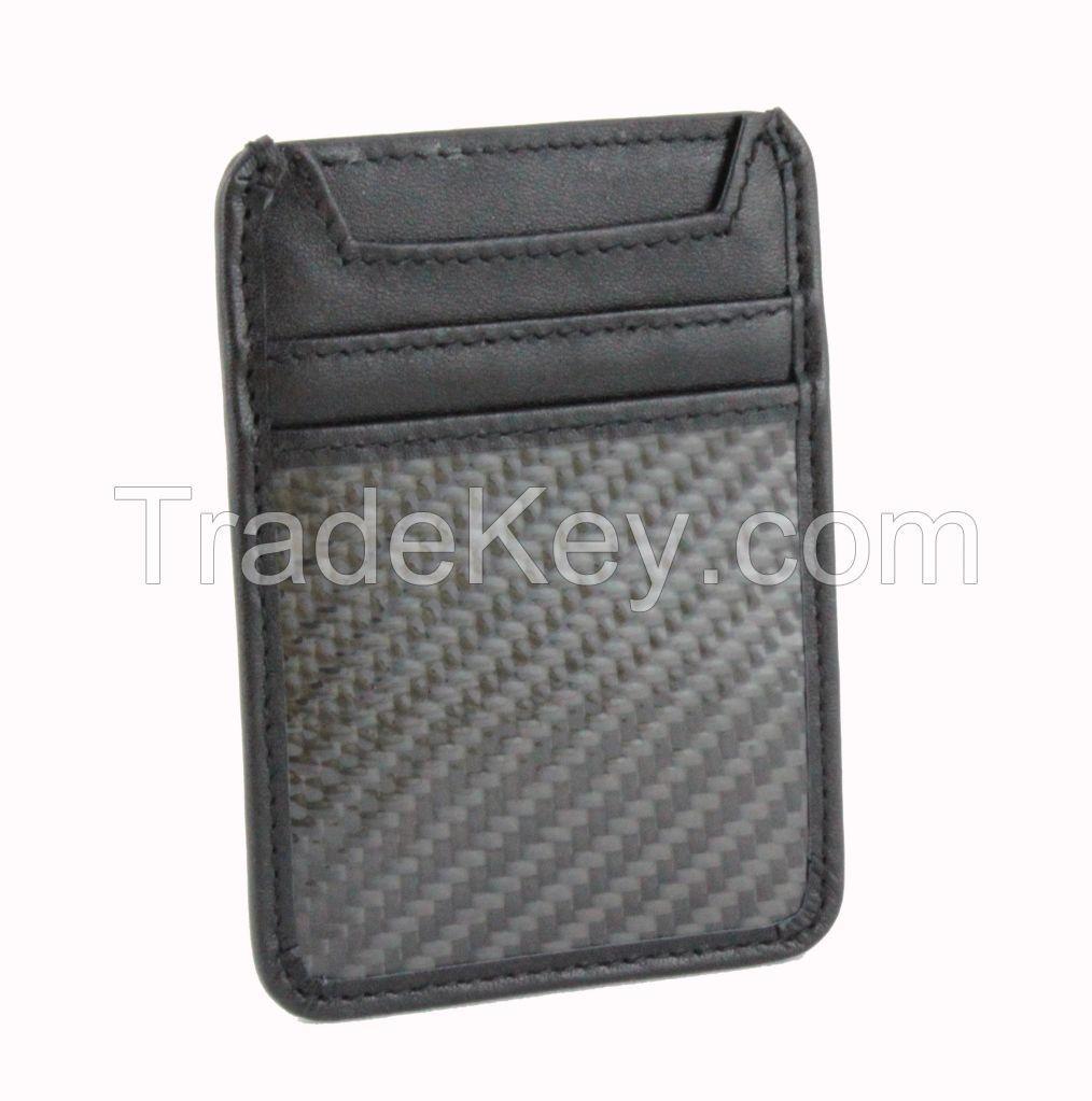 Genuine Leather Carbon Fiber Wallet Card Holder RFID Blocking