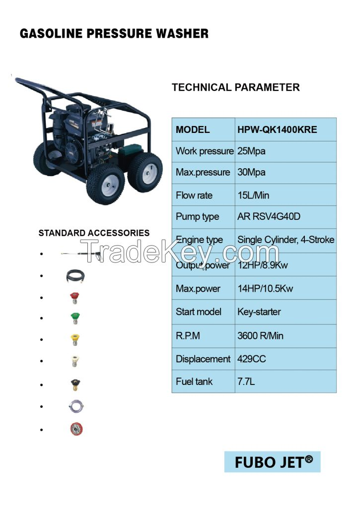 Gasoline pressure washer supplying from Fubo Jet