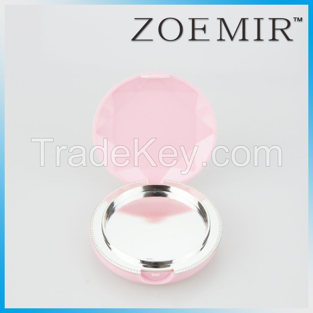 Cute pink round compact powder case for cosmetic packing