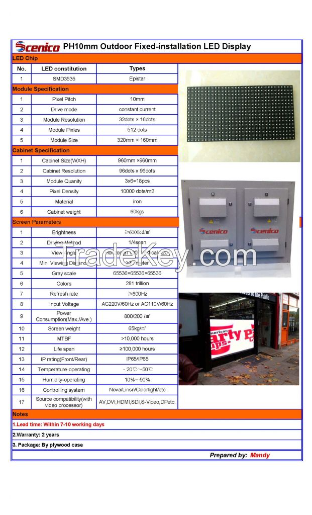 P10 Outdoor SMD LED Display