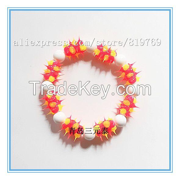 silicone spike beaded bracelet rainbow bracelet