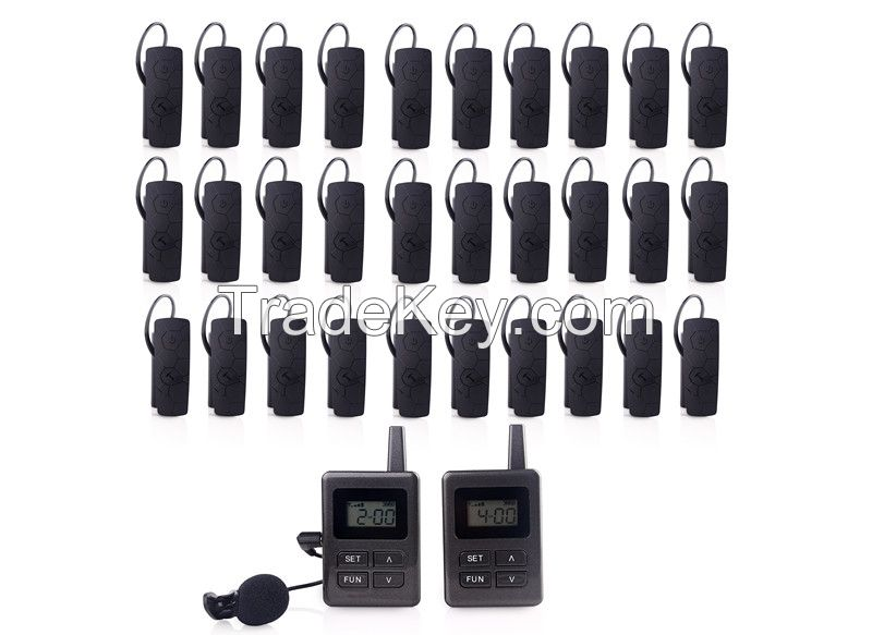 Audio tour guide system package(2 transmitters +30 pc receivers+ 3pc Multi chargers+device Bags)